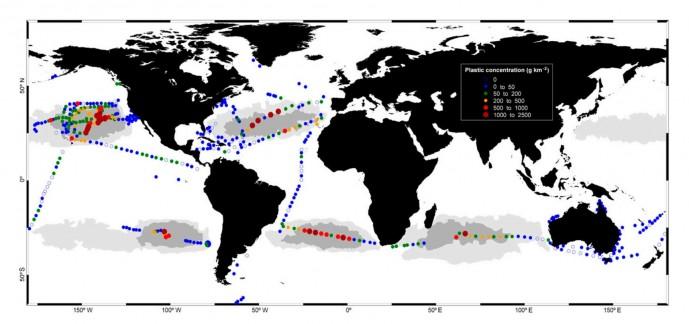 250명의 해양과학자들이 참여한 맬러스피나 해양 프로젝트( Malaspina expedition) 국제 연구팀은 2010년에서 2011년 사이, 442개 지역의 플라스틱 농도를 조사해 지도 위에 나타냈다.   - Cozar, A., et al. 제공